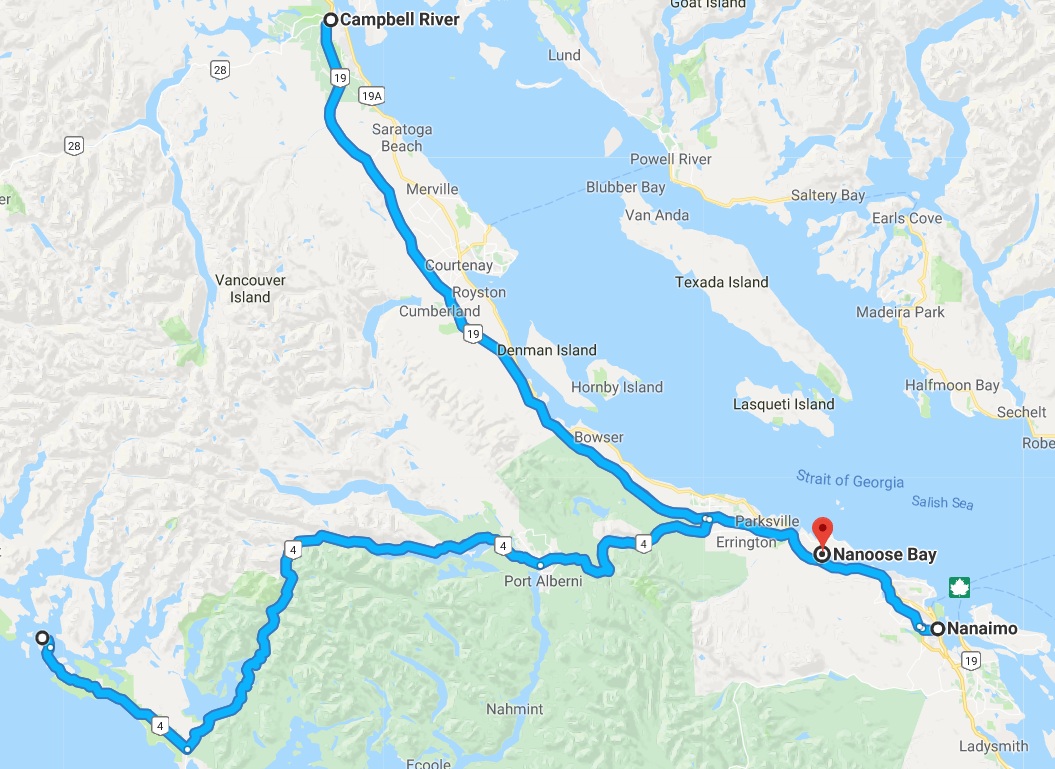 Vancouver Island Map for our trip to Nanoose Bay, April 13-15th 2018